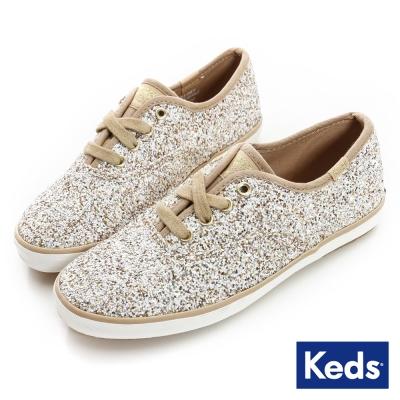 Keds 百變印花綁帶休閒鞋(For Kids)-金/亮片
