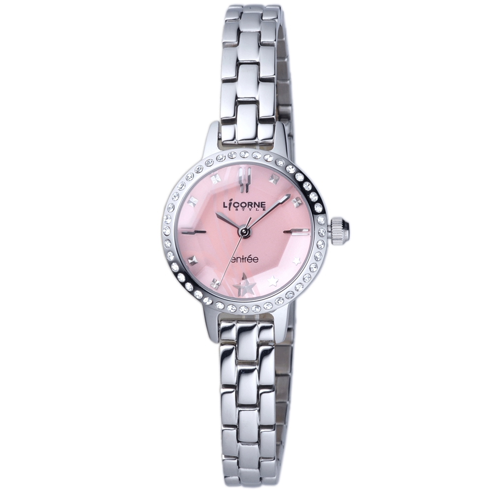 LICORNE 恩萃Entree 玻璃切割面晶鑽時尚設計師女腕錶-銀/粉-24mm