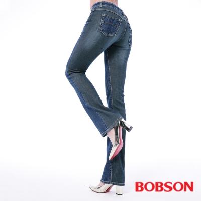 BOBSON 女款低腰異素材中藍色小喇叭褲