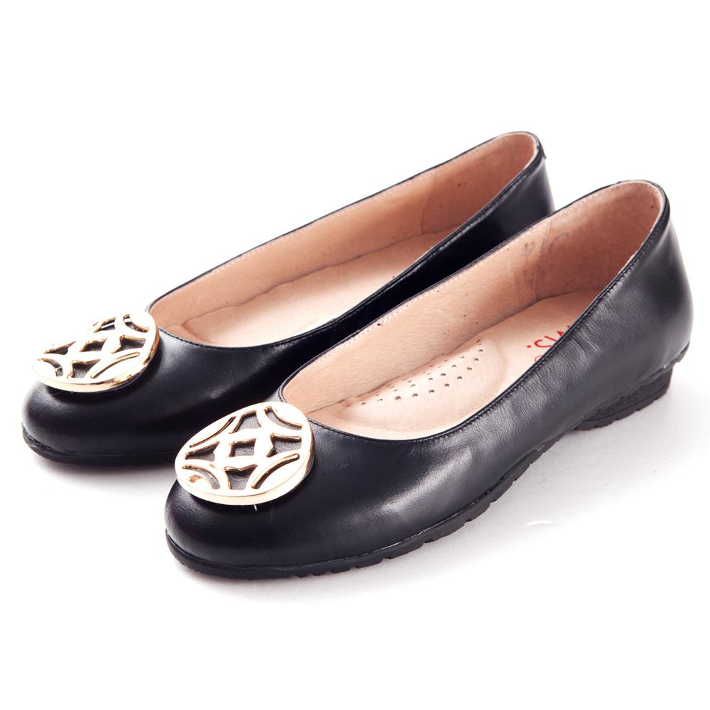 G.Ms. 金屬圓釦全真皮微坡跟娃娃鞋-  忐忑黑