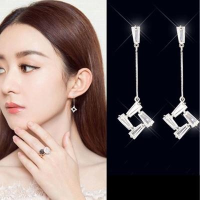 梨花HaNA 韓國 925 銀法式美妍氣質水晶直線垂墜耳環