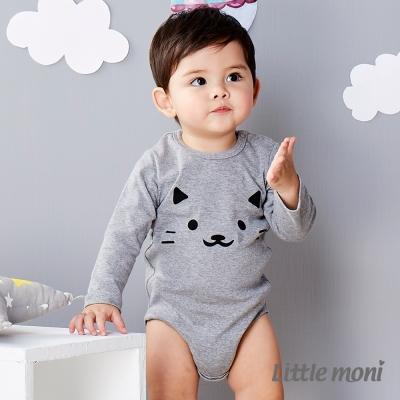 Little moni 純棉家居系列動物印圖包屁衣 麻花灰