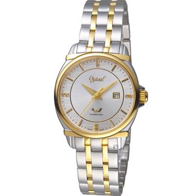 Ogival 愛其華典藏真鑽時尚腕錶(350-04LSK)雙色x白/30mm