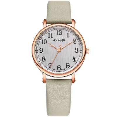 JULIUS聚利時 復刻回憶數字皮革錶帶腕錶-大象灰/34mm