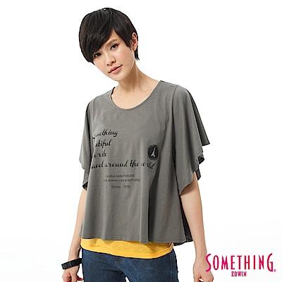 SOMETHING T恤 隨意自在印花垂袖造型T-女-灰色