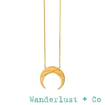 Wanderlust+Co 澳洲品牌 金色獅子座項鍊 鑲鑽新月項鍊 LEO