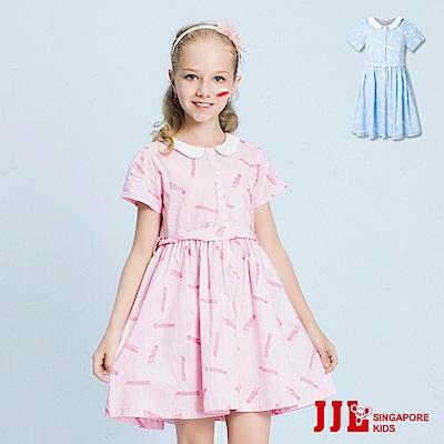 JJLKIDS 復古時光翻領棉質短袖洋裝(2色)