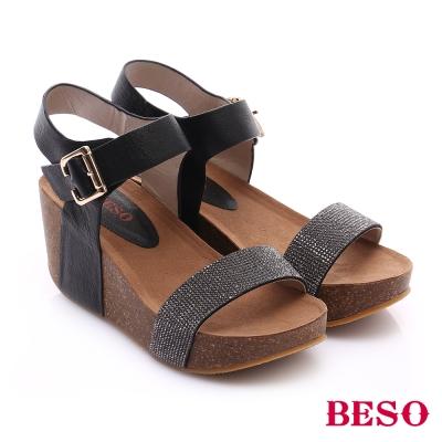 BESO-極簡風格-牛皮水鑽拼色楔型涼鞋-黑