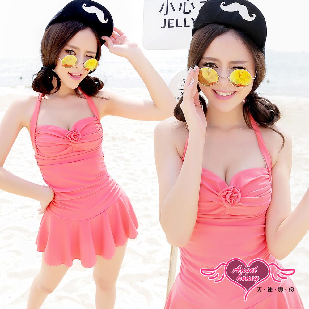 天使霓裳 戀夏假期泳衣 一件式連身款(深粉M~2L)