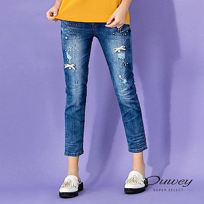OUWEY歐薇 釘珠蝴蝶結刷破窄管牛仔褲(藍)
