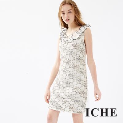ICHE 衣哲 立體荷葉邊飾蕾絲亮片洋裝
