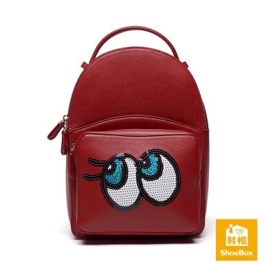 鞋櫃ShoeBox-女包-後背包-亮片卡通大眼後背包-紅
