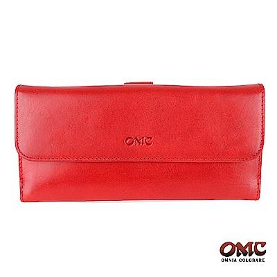 OMC 原皮系列-植鞣牛皮舌片壓扣17卡透明窗多隔層零錢長夾-紅色