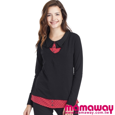 Mamaway-造型領片假2件孕婦裝-哺乳衣-共二