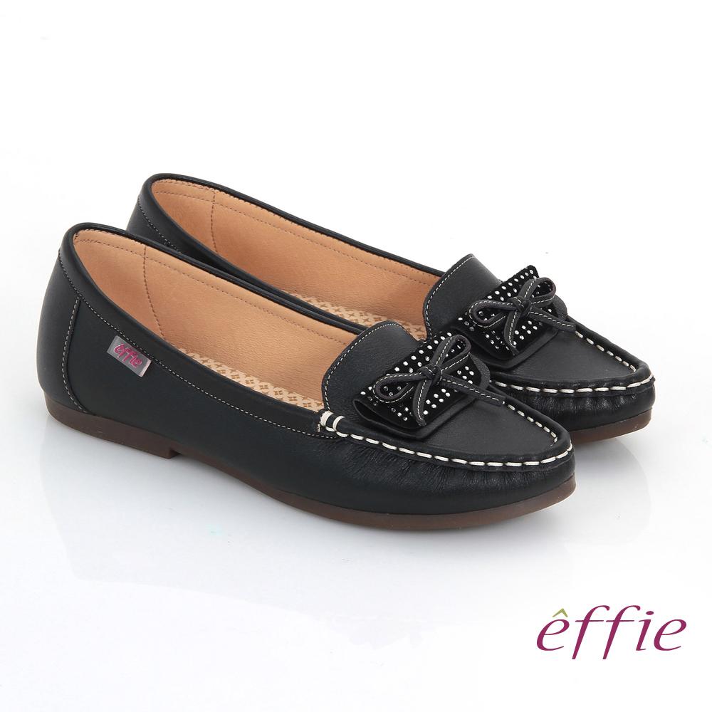 effie 手工縫線 牛皮細帶蝴蝶奈米平底休閒鞋 黑