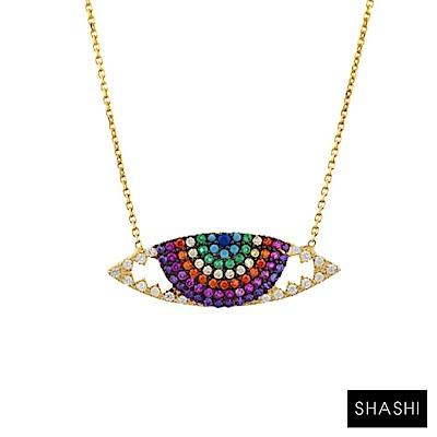 SHASHI 紐約品牌 RAVEN NECKLACE 鑲鑽智慧之眼項鍊 水晶彩虹眼睛項鍊