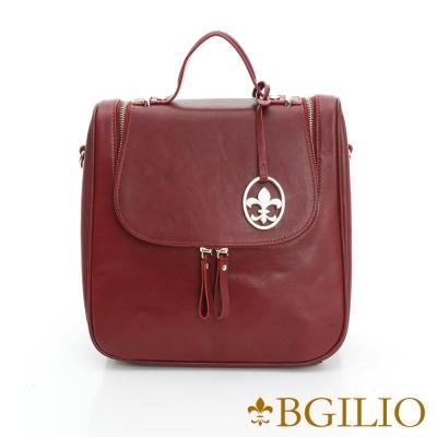 義大利BGilio-NAPPA軟牛皮知性學院風後背包-棗紅色 1942.005A-10