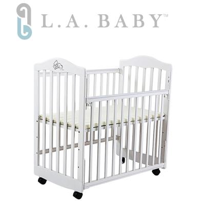 【美國 L.A. Baby】蒙特維爾美夢熊小床嬰兒床/實木/(白色) 適用育嬰 託嬰