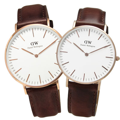 DW Daniel Wellington 聖安德魯皮革對錶-白x咖啡/40mm+36mm
