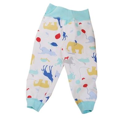 動物印花刷毛高腰護肚長褲 藍 k60299 魔法Baby