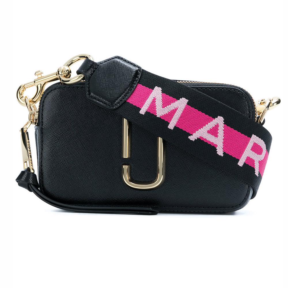 MARC JACOBS Snapshot 品牌背帶防刮牛皮相機包/斜背包-經典黑