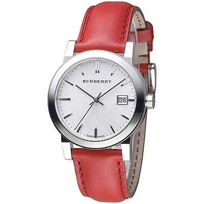BURBERRY 倫敦精品幾何圖形設計皮帶女錶-銀白/紅(BU9129)/35mm