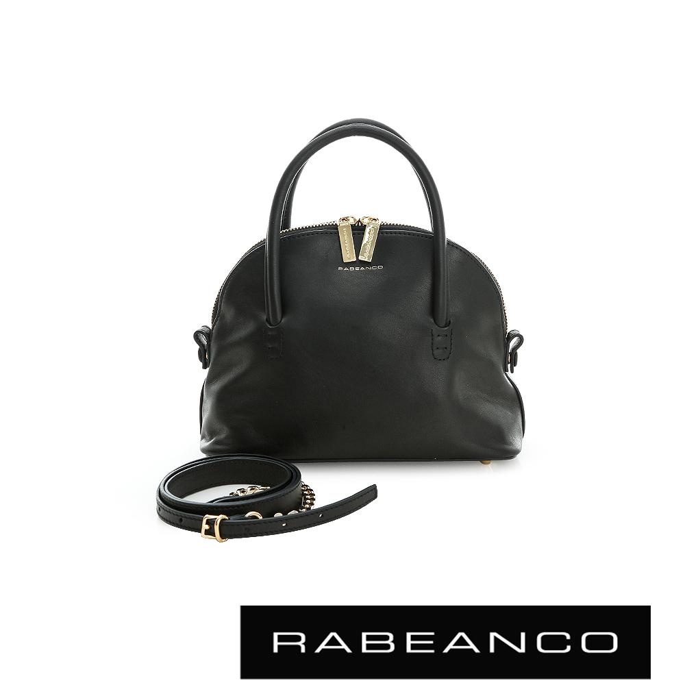 RABEANCO 迷時尚牛皮系列鍊帶貝殼包 黑