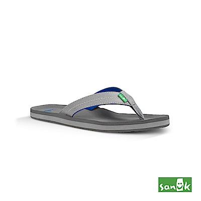 SANUK 瑜珈墊寬版人字拖鞋-男款(灰藍色)