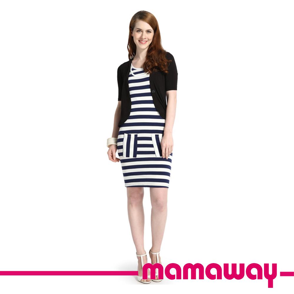 [3件75折]Mamaway 假兩件西裝外套洋裝(共三色)