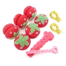 軟式草莓髮捲球+愛心海綿空氣感髮捲-捲髮造型組