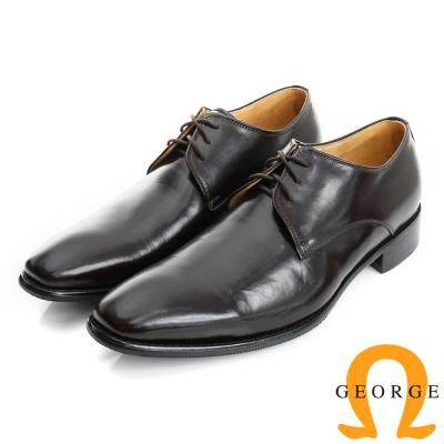 GEORGE 喬治-手工紳士鞋系列 牛皮綁帶紳士皮鞋(男)-酒紅色