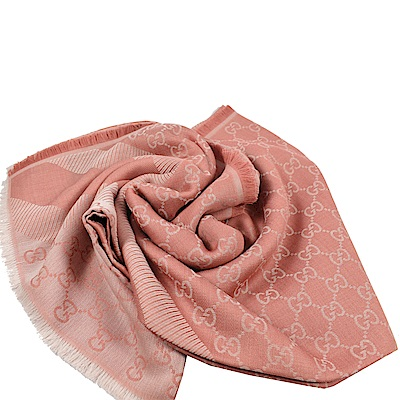 GUCCI 經典G LOGO造型圍巾/大方巾(深粉紅)