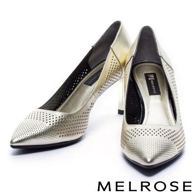 高跟鞋 MELROSE 個性沖孔貼膜牛皮尖頭高跟鞋-金