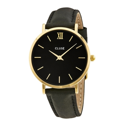 CLUSE MINUIT系列 金框黑錶盤黑色皮革錶帶33mm