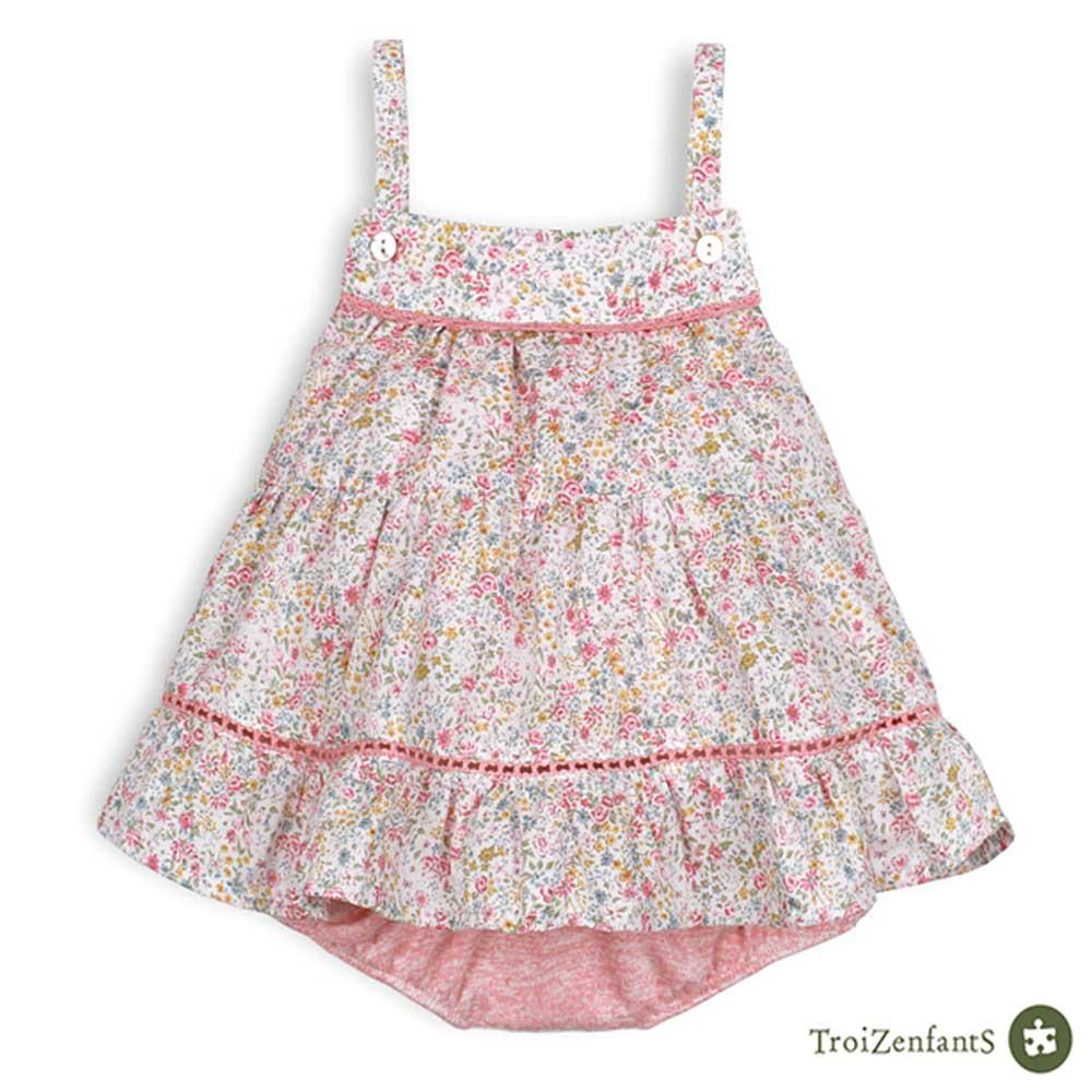 TroiZenfantS 法國精品 粉紅杜樂麗花園細肩帶包屁洋裝