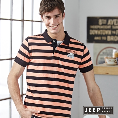 JEEP 海軍風條紋短袖POLO衫 黑橘 (合身版)