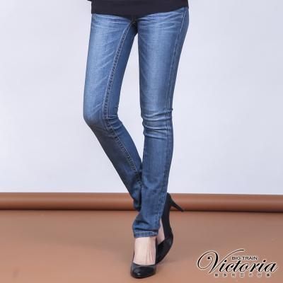 Victoria 低腰中藍水洗繡花窄管褲-女-中藍