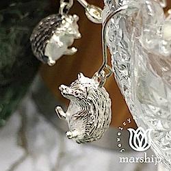 Marship 日本銀飾品牌 可愛刺蝟耳環 925純銀 亮銀款 針式耳環