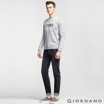 GIORDANO 男裝精工貓鬚水洗直筒窄管牛仔褲-65 黑色