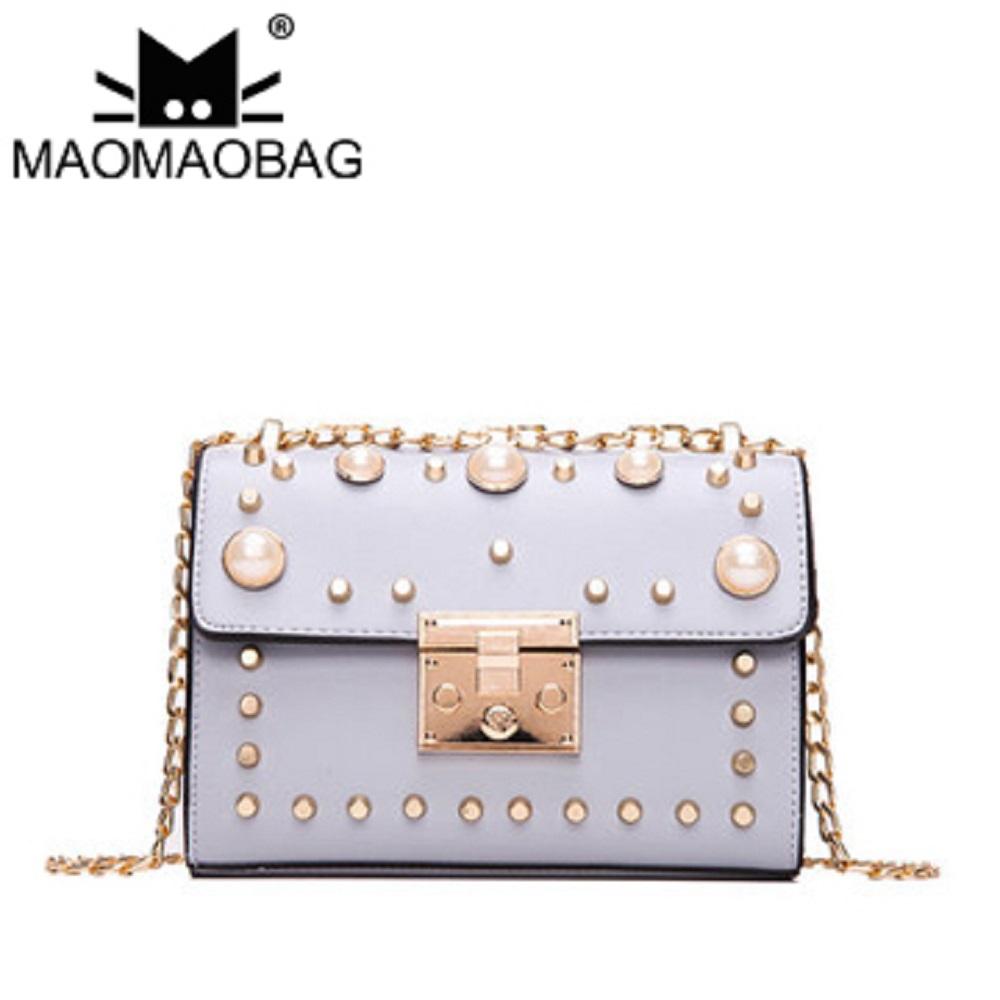 MaoMaoBag-鉚釘鏈條小方包-灰