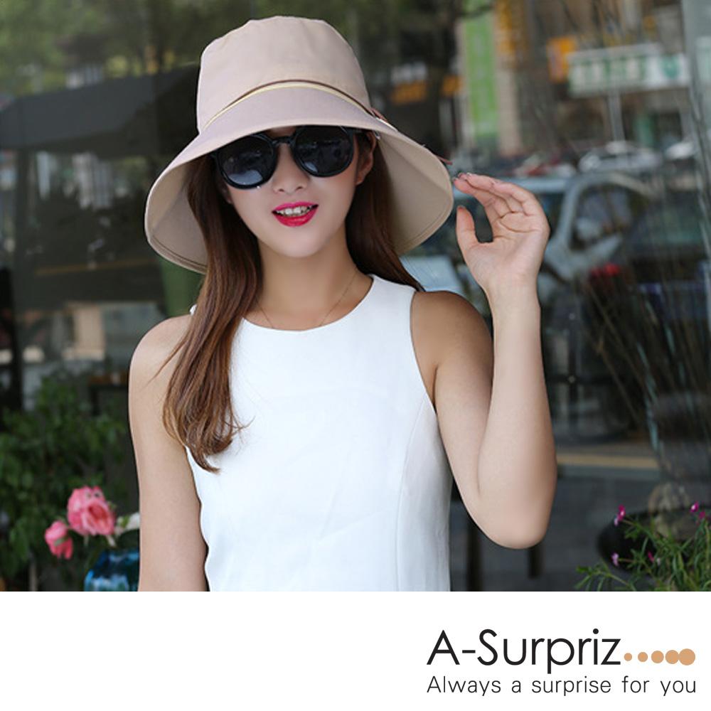 A-Surpriz 圓木釦綁麂皮繩遮陽帽(卡其)附防風繩