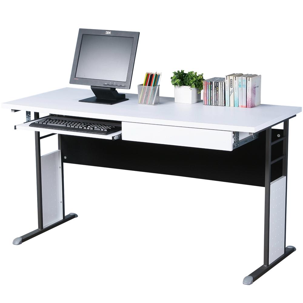 Homelike 巧思140x60辦公桌(附抽屜+鍵盤架)-白桌面/炫灰桌腳