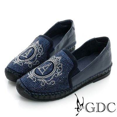 GDC舒適-A字水鑽厚底真皮懶人休閒鞋-藍色