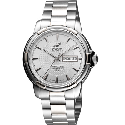 ENICAR 英納格 航行經典日曆機械腕錶-銀/40mm