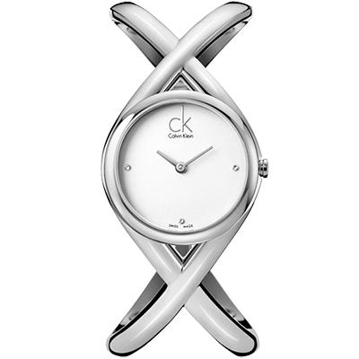 cK Enlace 時尚經典S手圍手鐲腕錶-銀白/ 27 mm