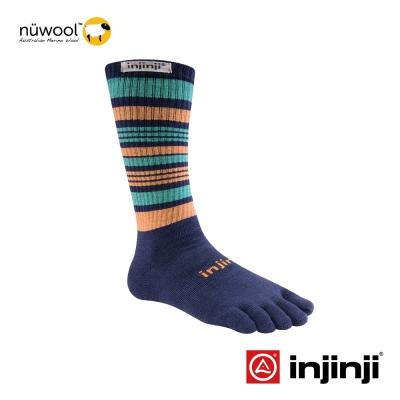 【Injinji】Outdoor戶外羊毛五趾中筒襪-岩藍/橙