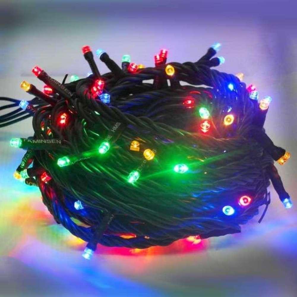音樂LED燈串聖誕燈-100燈樹燈串(四彩光黑線)(附控制器跳機)有聖誕音樂