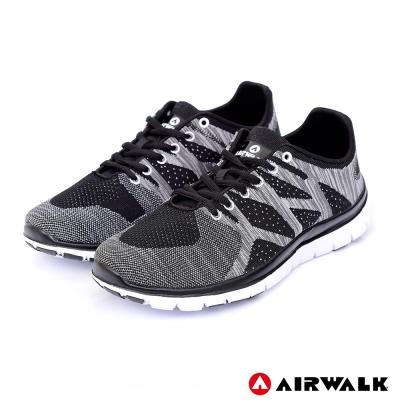 【美國 AIRWALK】幾何線條編織慢跑鞋-黑