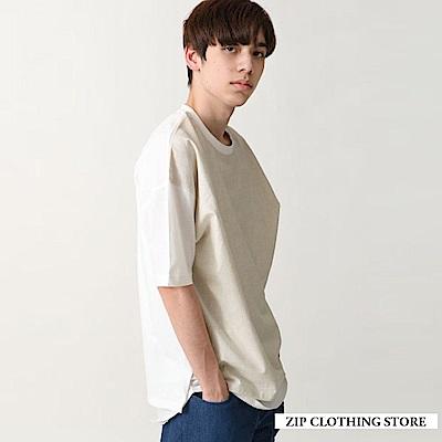 有機棉直條紋寬版T恤(3色) ZIP日本男裝
