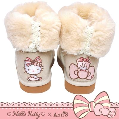 HELLO KITTY X Ann'S花園刺繡溫暖毛線真皮雪靴禮盒-米